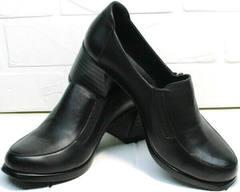 Черные женские туфли на толстом каблуке осень весна H&G BEM 107 03L-Black.