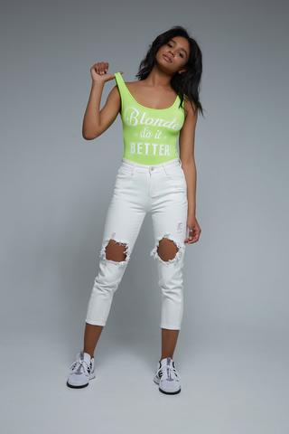 Женские белые джинсы с дырками купить