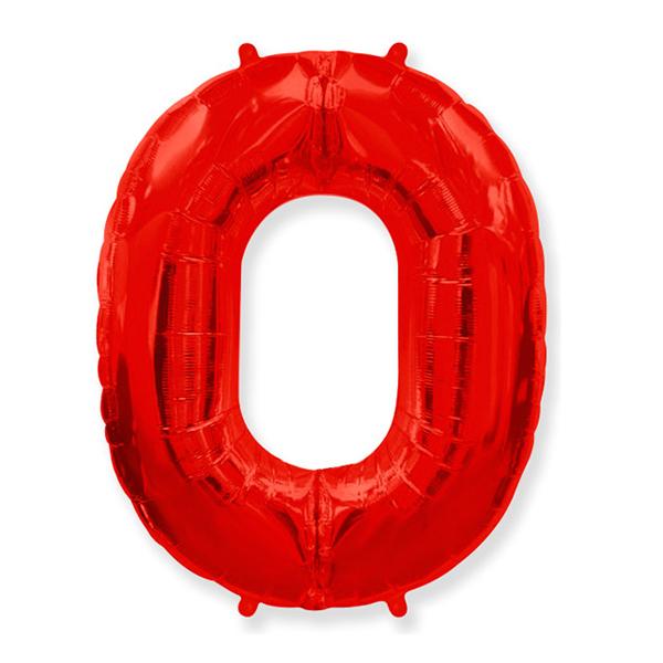 Фольгированная цифра 0, красный