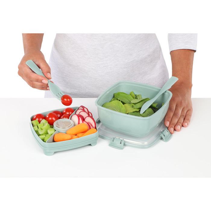 """Контейнер для салата с разделителями и приборами Sistema """"Renew"""" 1,1л, цвет Светло-зеленый"""