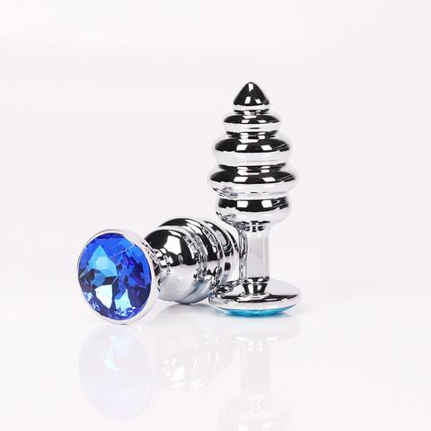 Анальная пробка фигурная 7,3 х 2,9 см синий страз размер-S 47146-MM