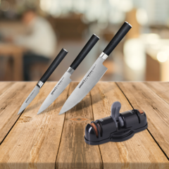 Набор из 3 кухонных ножей Samura Mo-V и точилки KSS-3000