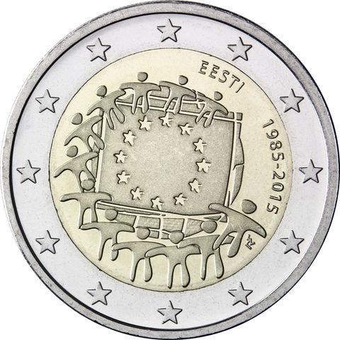 2 евро 2015 Эстония - 30 лет флагу Евро Союза