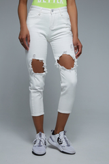Женские белые джинсы с дырками Nadya