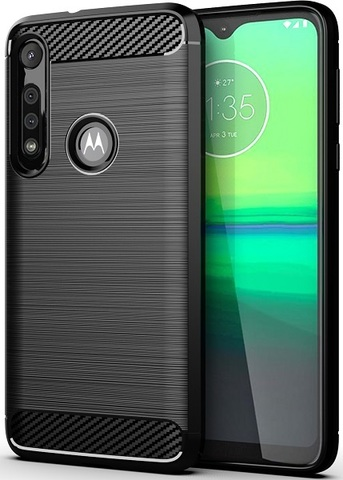 Чехол Motorola Moto G8 Play (One Macro) цвет Black (черный), серия Carbon, Caseport