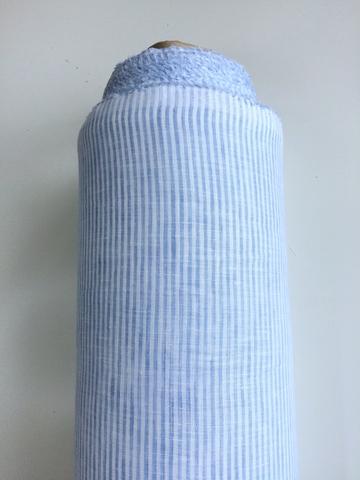 Лен 100% сорочечный, голубая полоска, поперечная