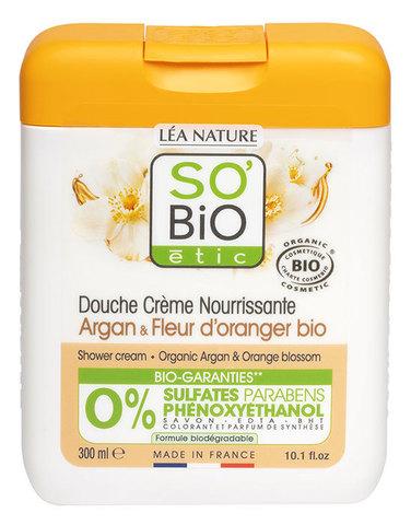 Крем для душа с аргановым маслом и цветками апельсина SO'Bio etic, 300 мл