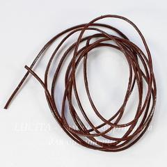 Шнур кожаный, 1 мм, цвет - коричневый, примерно 1 метр