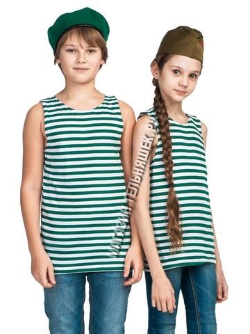 Детская зеленая майка-тельняшка - Магазин тельняшек.ру 8-800-700-93-18Детская майка-тельняшка погранслужба (зеленая полоса) в Магазине тельняшек