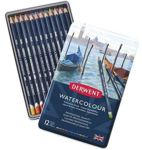 Набор акварельных карандашей Derwent Watercolour 12 цветов в металлической упаковке