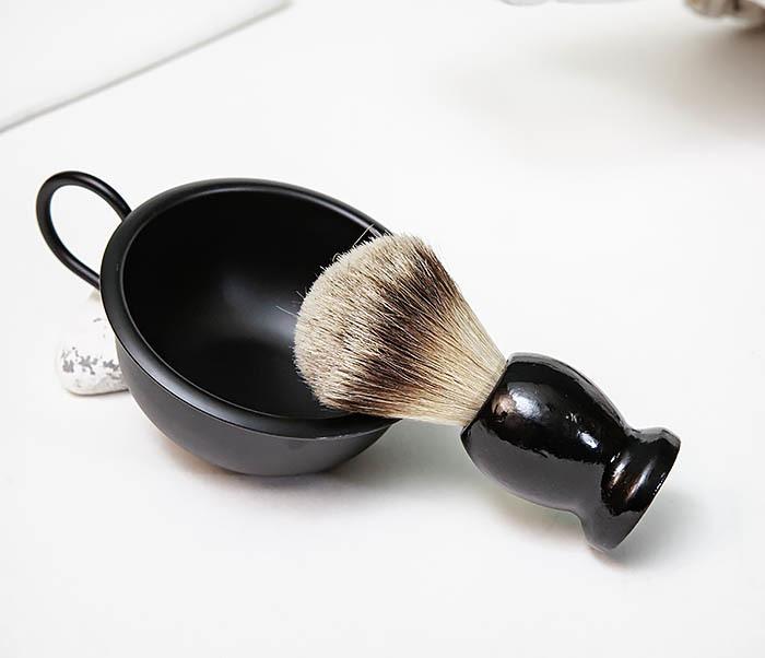 RAZ515 Черная стальная чаша для бритья с ручкой фото 07