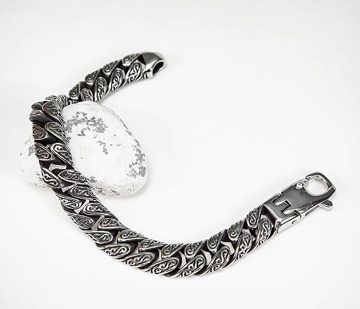 BM577 Крупный стальной браслет с гравировкой на звеньях фото 03