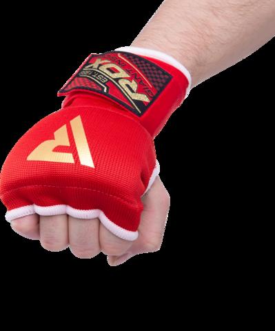 Внутренние гелевые перчатки с ремнями на запястьях, красные