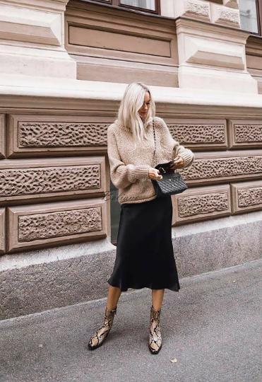 Юбка миди натуральный шелк Шелковая сатиновая юбка черная
