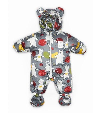 Malek baby. Комбинезон непромокаемый утепленный, медведь и заяц на сером