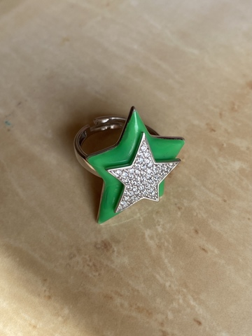 Кольцо Звезда зеленое, серебро