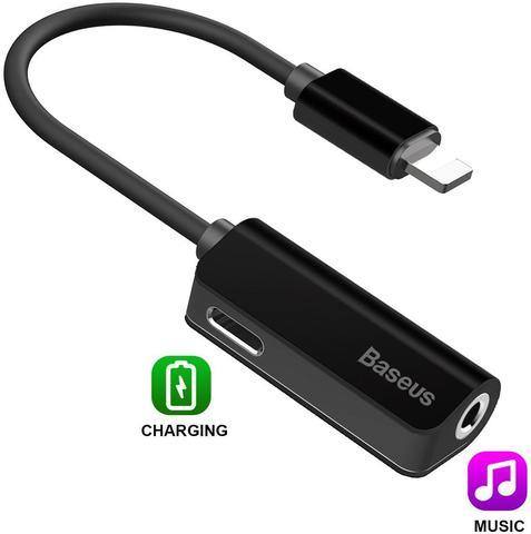 Аудио-переходник Baseus L32 IP Male to 3.5 mm and Lightning Female Adapter (с разъемом для зарядки) CALL32-01 Черный