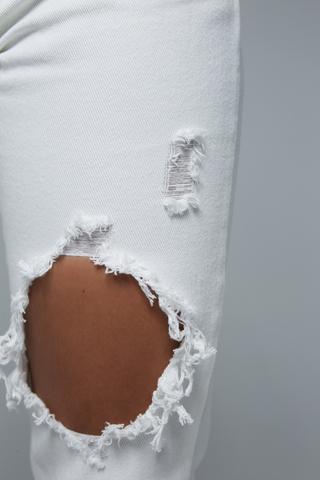 Женские белые джинсы с дырками оптом