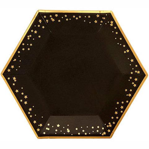 Тарелки большие Гламур Black&Gold, 8 шт