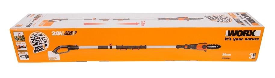 Цепная пила Аккумуляторная телескопическая WORX WG349E.9, 20В, 20 см, без АКБ и ЗУ