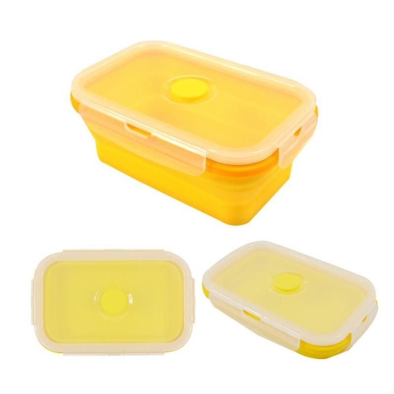 Силиконовый контейнер складной 300 мл. желтый