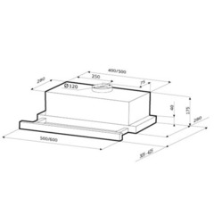 Вытяжка Kronasteel Kamilla sensor 600 white/glass - схема
