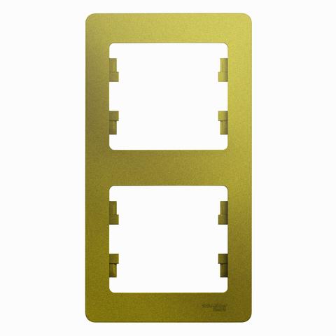 Рамка на 2 поста, вертикальная. Цвет Фисташковый. Schneider Electric Glossa. GSL001006