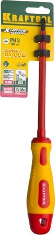 Отвертка KRAFTOOL, высоковольтная, Cr-Mo-V стержень, двухкомпонент. маслобензостойкая рукоятка, PH №3, 150мм