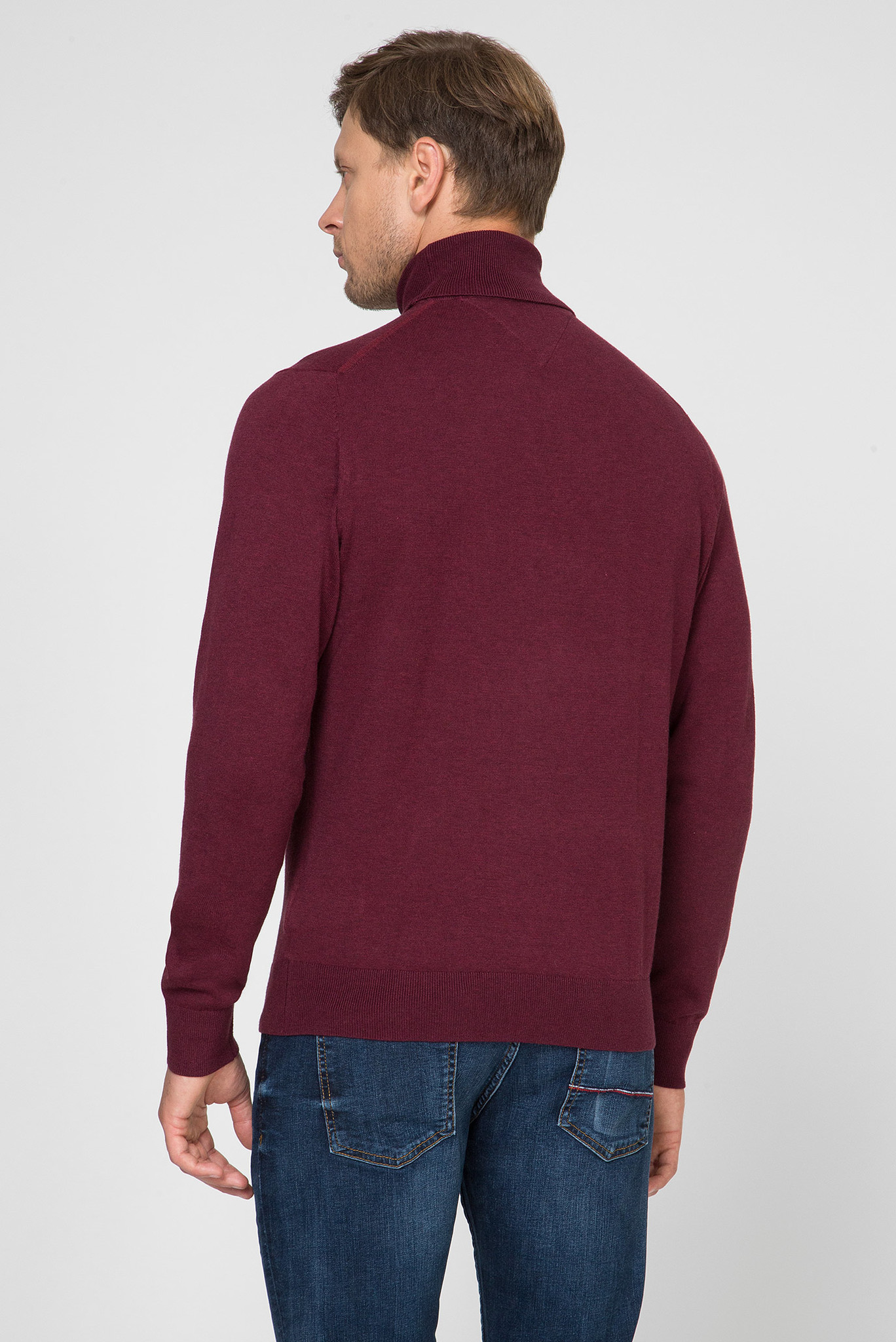 Мужской бордовый гольф ORGANIC COTTON SILK ROLL NECK Tommy Hilfiger