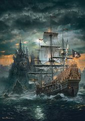 Алмазная Мозаика 50x65 Пиратский корабль в море