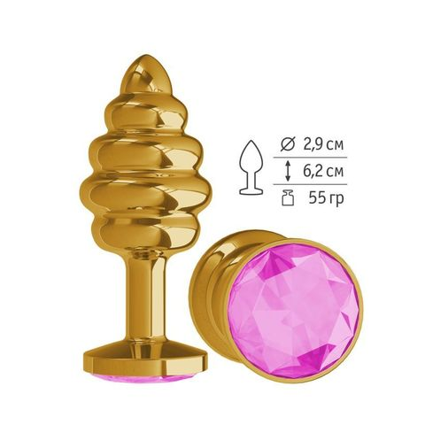 Анальная втулка Gold Spiral с розовым кристаллом маленькая