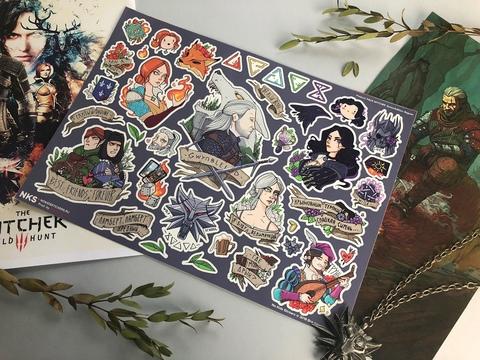 Лист стикеров Ведьмак (Witcher)