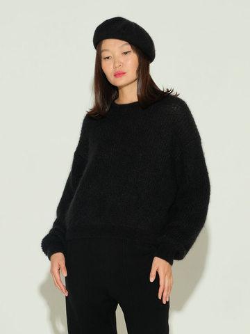 Женский джемпер черного цвета из мохера и шерсти - фото 2