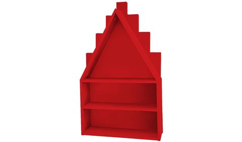 Полка-домик красная