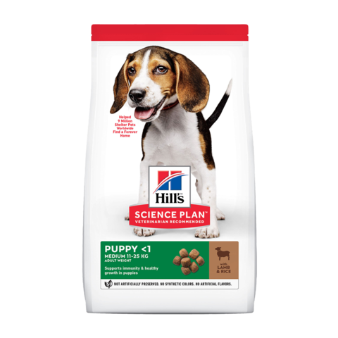 Hill's Science Plan Healthy Development Puppy Сухой корм для щенков средних пород для поддержания сильного иммунитета с ягненком и рисом