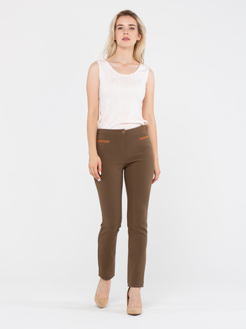 Фото коричневые зауженные брюки из плотной ткани с эластаном - Брюки А439-155 (1)