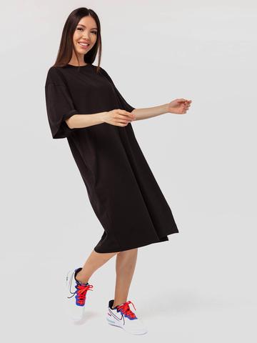 Платье-футболка гипероверсайз черное с разрезом