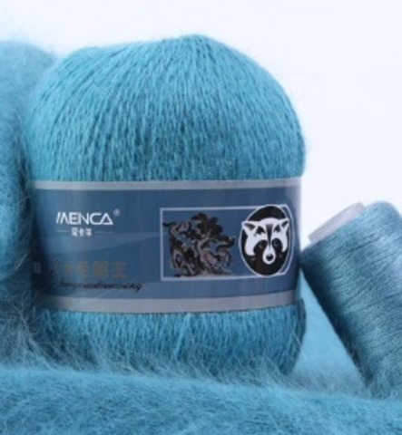 Пряжа Пух норки 862 голубой лед
