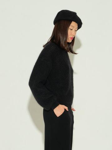 Женский джемпер черного цвета из мохера и шерсти - фото 4
