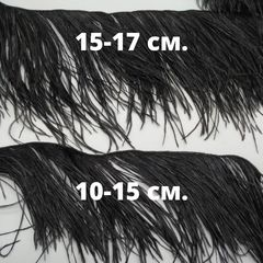 Премиум Тесьма  из перьев страуса на нитке в 2 слоя h 15-17 см., черный метраж
