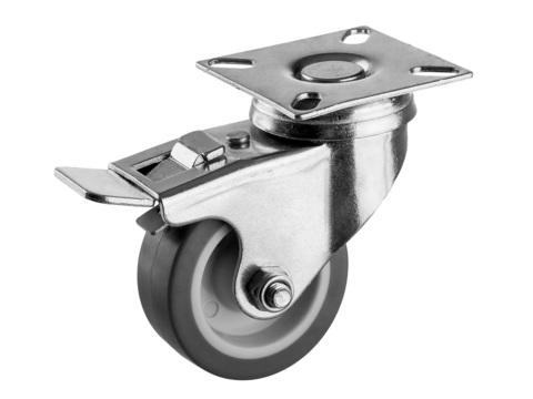 Колесо поворотное с тормозом d=50 мм, г/п 40 кг, термопластич. резина/полипропилен, ЗУБР Профессионал
