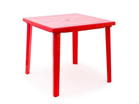 Пластиковый квадратный стол красный