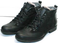 Классические черные ботинки на шнуровке мужские зимние Luciano Bellini 6057-58K Black Leathers & Nubuk.