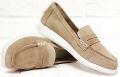 Классические лоферы женские туфли квадратный носок Anna Lucci 2706-040 S Beige.