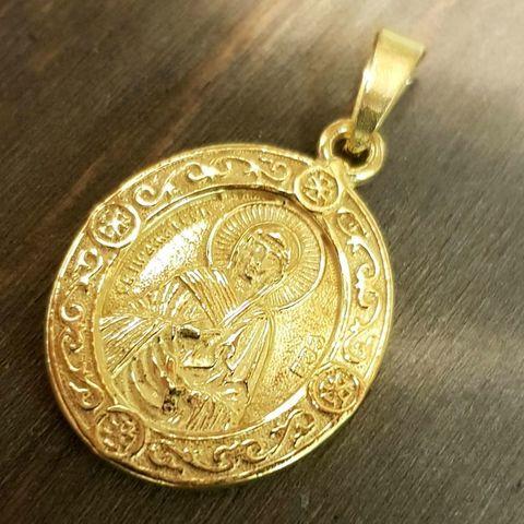 Нательная именная икона святая Ева с позолотой кулон с молитвой