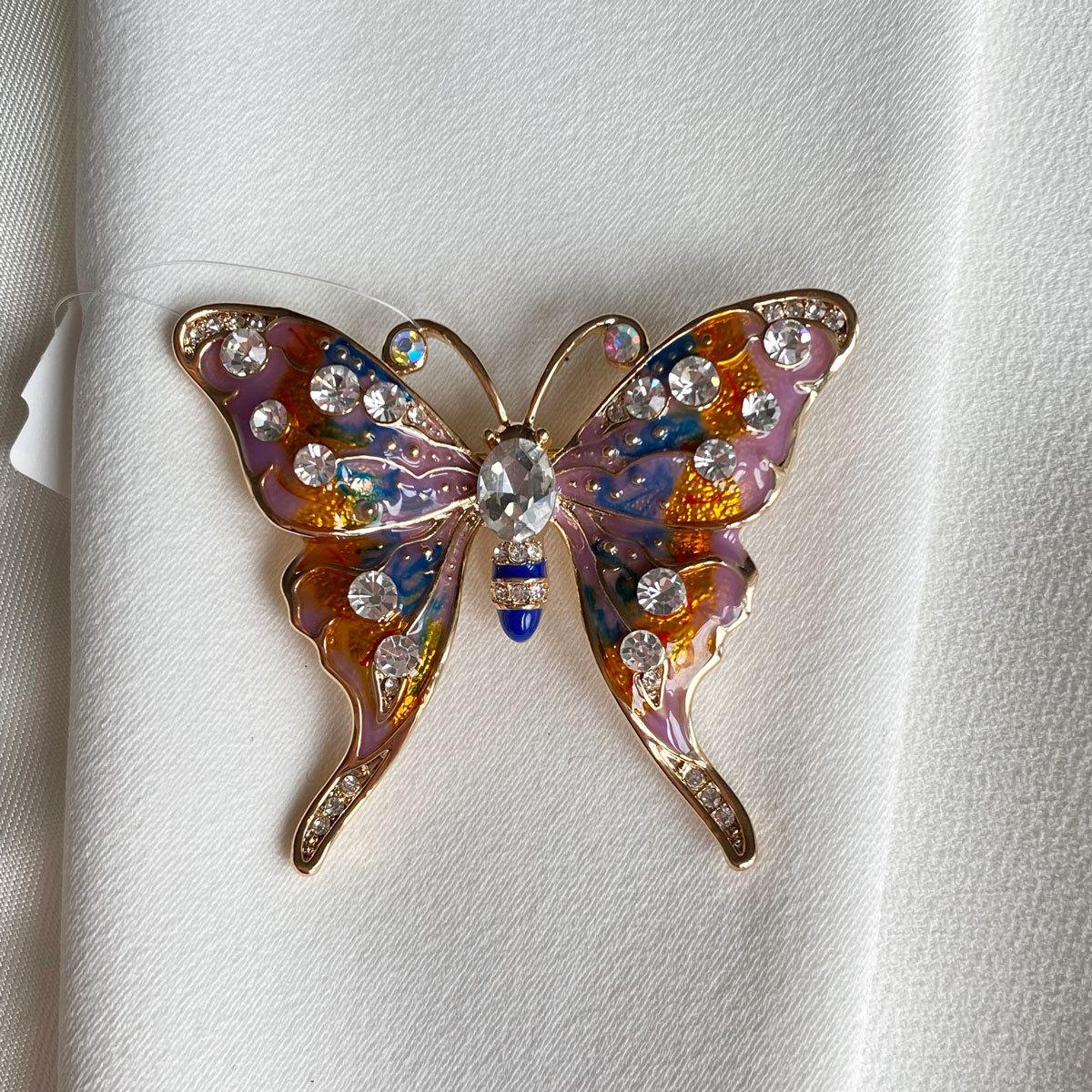 Брошь Бабочка глазурь фианиты оранжевая