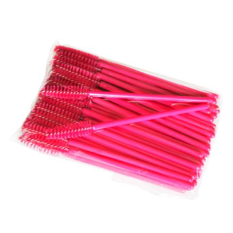 Щеточка для ресниц нейлоновая (розовая), 50шт.