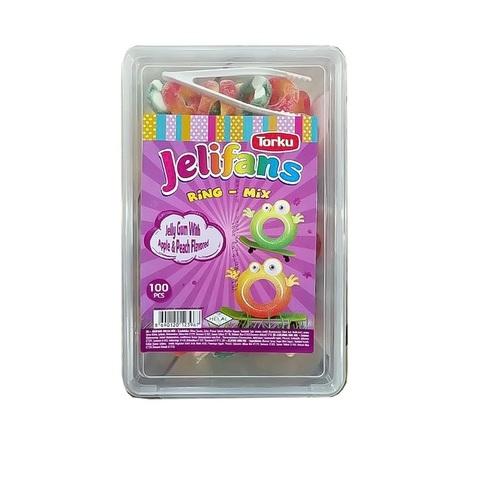 JELIFANS желейные конфеты яблочные и персиковые кольца  1кор*8бл*1шт 900гр