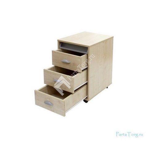 Тумбы выкатная на 3 ящика + выдвижной пластиковый пенал (ТУВ-02)