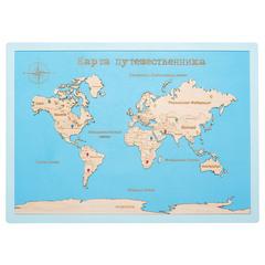 Карта путешественника из дерева Blue фото 1